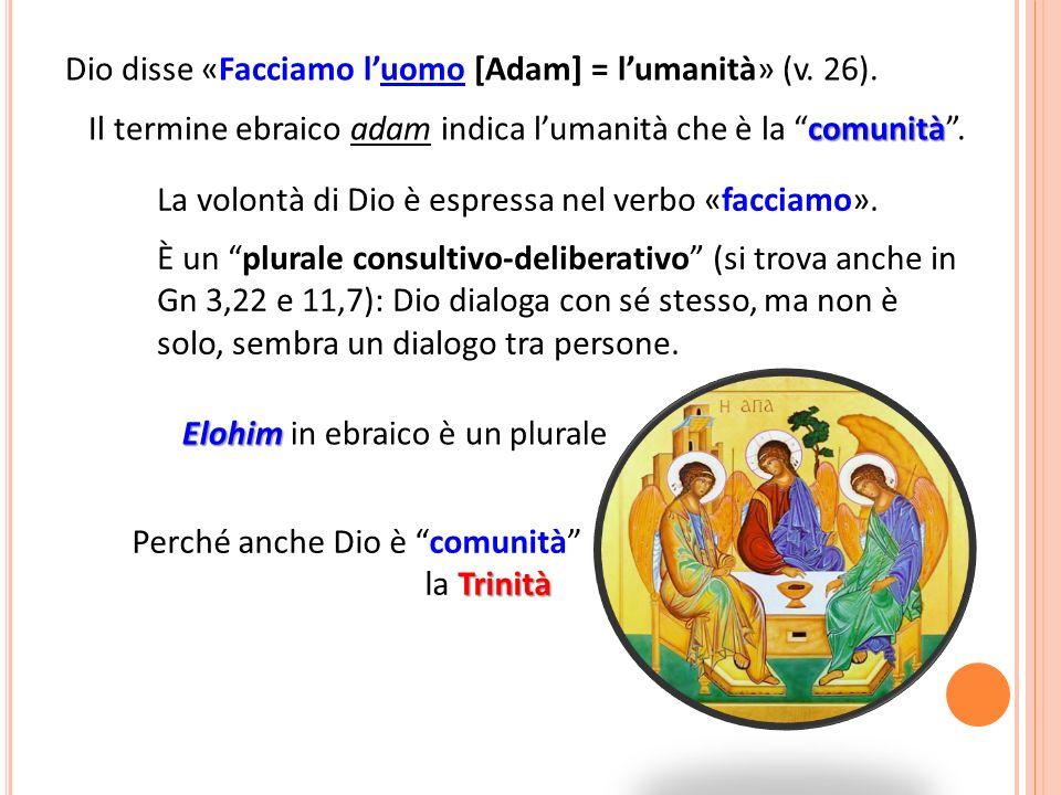 Dio disse «Facciamo l'uomo [Adam] = l'umanità» (v. 26).